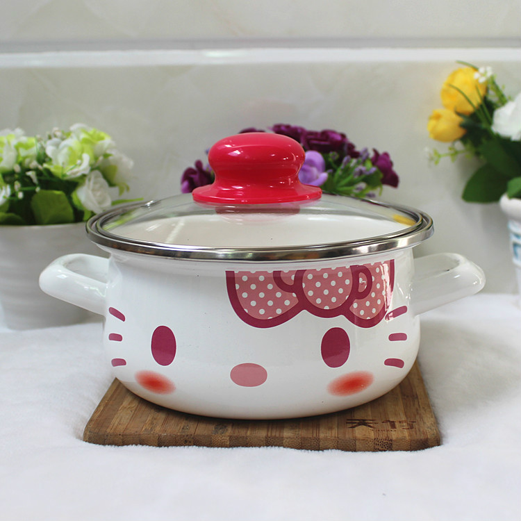2017 New Cute 16CM Ears/single Handle Enamel Pot Baby Milk Pot Soup Pot and Thicken with Flat Induction Cooker Food Bowl