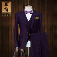 3 Pieces Italian Groom Wedding Purple Suits For Men Single Breasted Blazer Masculino Slim Fit Costume Homme Mariage 2016