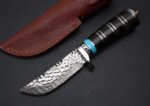 Fine Thomas Handmade Forging Damascus Fixed Knives,Black Oxhorn Handle Camping Survival Knife,Hunting Knife.