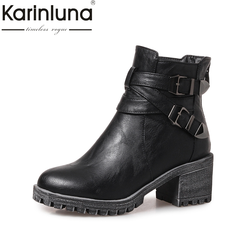 KARINLUNA  large size 31-43 fashion platform women shoes woman square heels punk style ankle boots black martin boots gray morazora fashion punk shoes woman tassel flock zipper thin heels shoes ankle boots for women large size boots 34 43