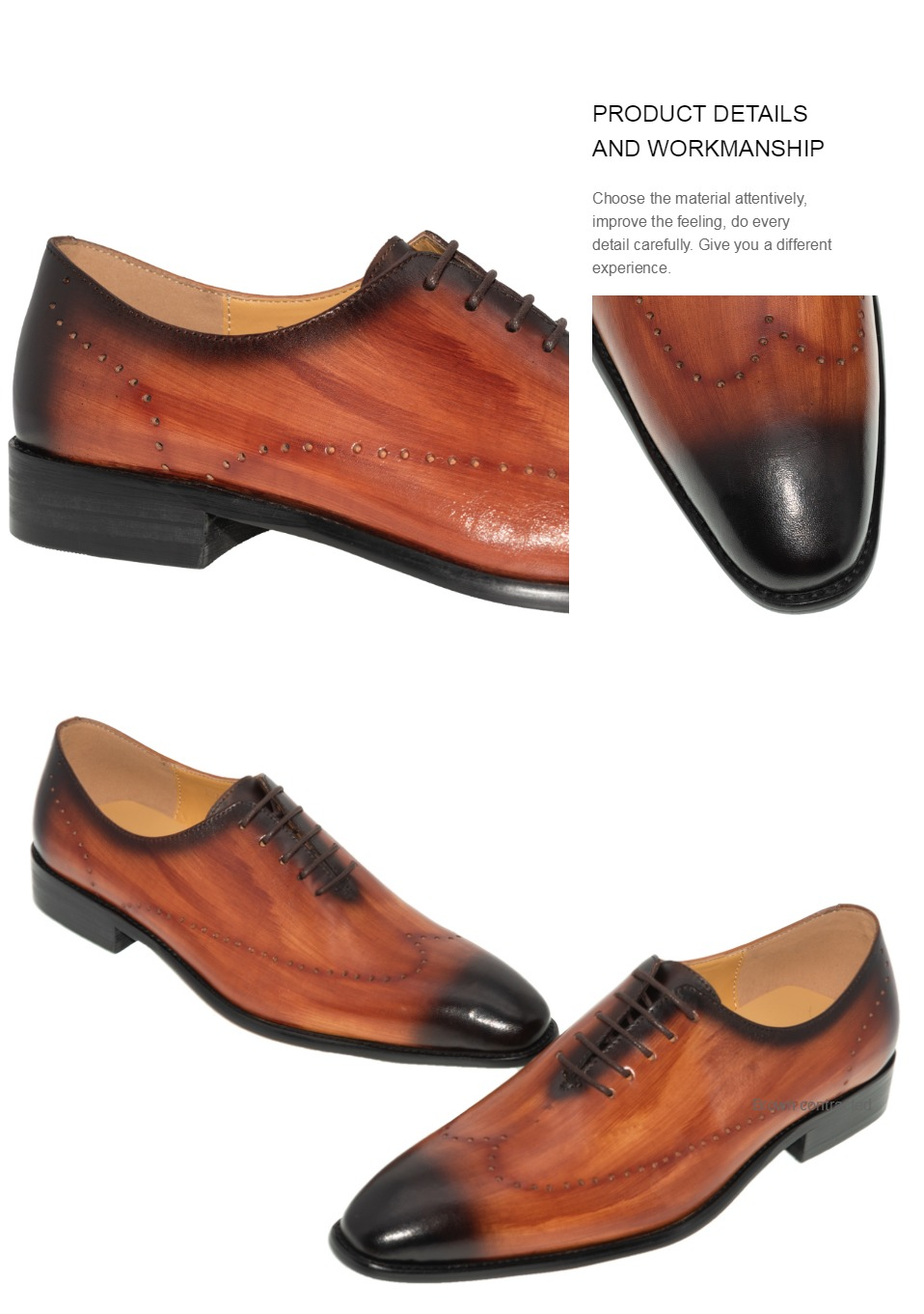 Genuine Leather Men Dress Shoes Office Business Wedding Mixed Brown Color Luxury Formal brogue Pointed Toe Oxfords Mens Shoes 4