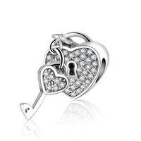 925 Sterling Silver Lock Of Love Charm Fit Original Pandora Bracelet Padlock Pave Silver Charm With