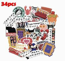 34PCS American drama friends famous actor coffee bill suitcase computer scooter decorative stationery stickers diy diary sticker