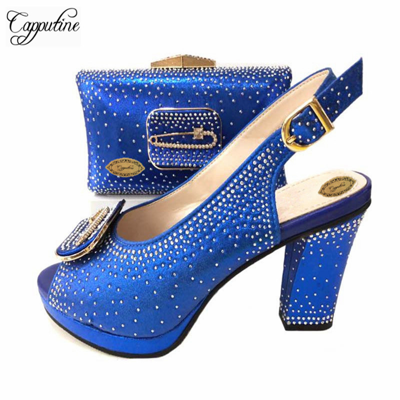 Capputine Blue Color African Style Woman Shoes And Bag To Match Set Italian High Heels Shoes And Bag Set For Party 5Colors Sale capputine high quality italian gold shoes and bag set fashion african style high heels shoes and bag set for party dress tx 25