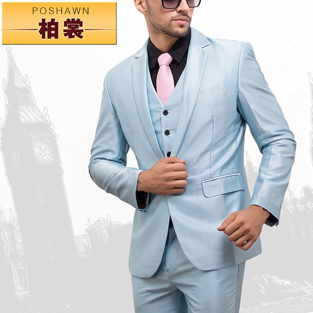 18d0473a5d47 2015 New men suits (Jackets + pants + vest) Fashion suits slim light blue men s  suit formal dress