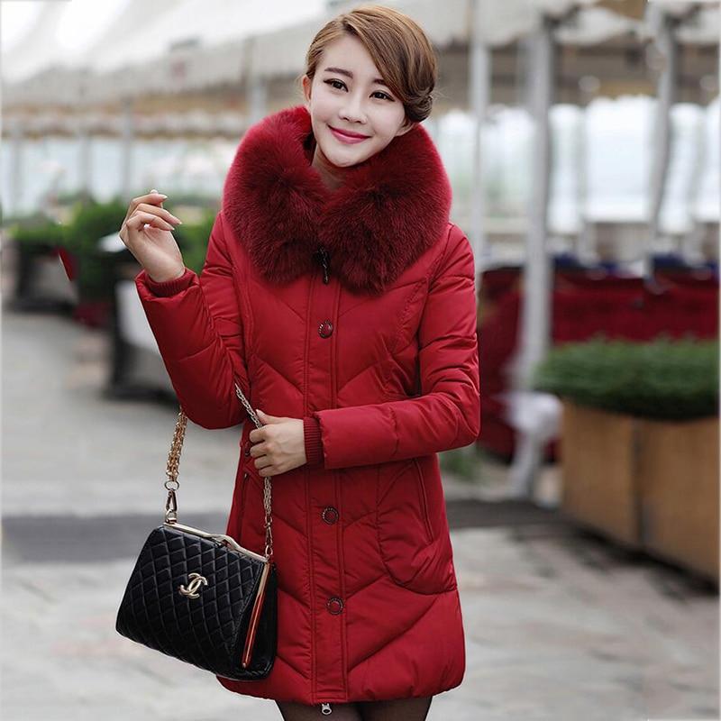 Hiver Section Vêtements Grande Longue Taille Chaud Mediun Black De Moyen red Coton Fourrure dark Dates D'âge Veste Femmes Col L Dd327 red Blue Survêtement 4xl rYrv086