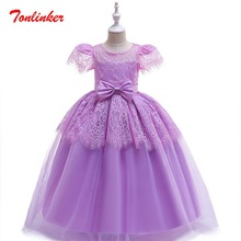 Princess Girls Party Lace Flying Sleeve Tutu Dress Elegant Bow-Knot Children day Wedding Birthday Clothes For Theme