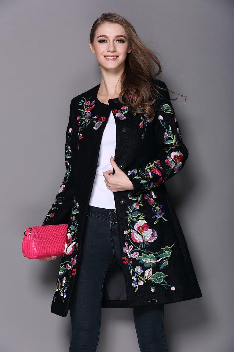 2017 automne hiver Long manteau Vintage broderie cachemire Trench Slim noir/blanc manteau de laine pardessus
