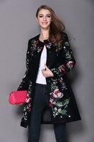 2017Autumn Winter Long Coat Vintage Embroidery Cashmere Trench Slim Black/White Woolen Coat Overcoat