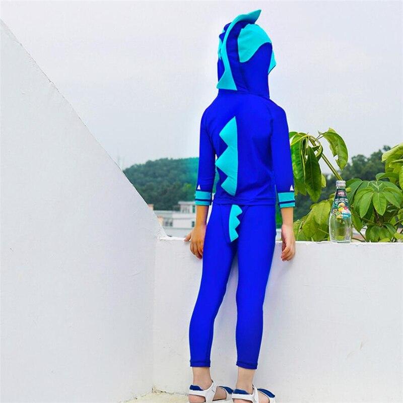 2019 Kids Thermal Swimwear Winter Warm Two Piece Cartoon Dinosaur Swimsuit Children's Long Sleeve Beach UV Bathing Suit