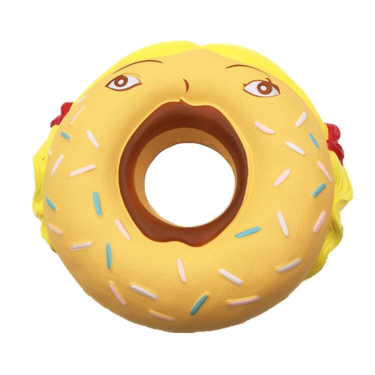 New 14CM Jumbo Squishy Donut Yellow Hair Girl Slow Rising Soft Squeeze Phone Strap DIY Store Decor Anti Stress Kid Toys Gift