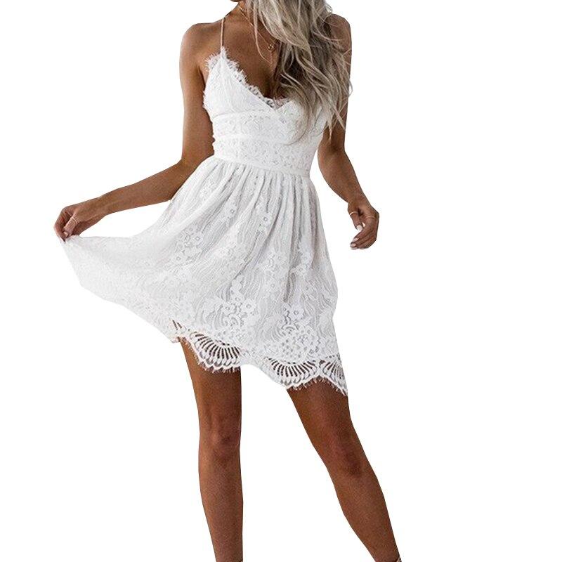 Backless Spaghetti Strap Sexy Lace font b Dress b font Women Sleeveless V Neck Loose Summer
