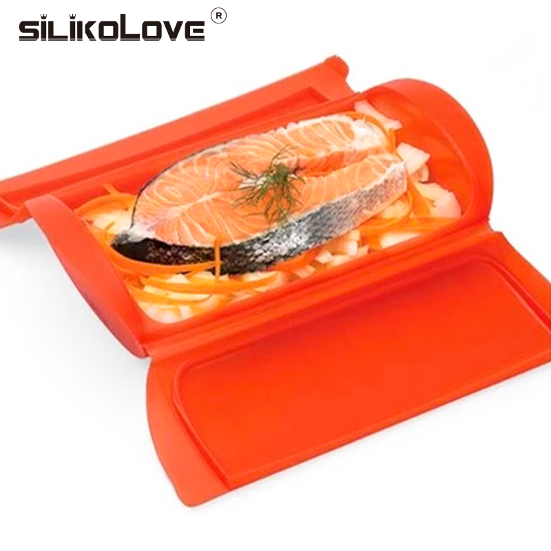 SILIKOLOVE Portable kitchenware Microwave Oven Steamer Silicone Healthy Lunch Box Food Steam Case Kitchen Gadget Tool