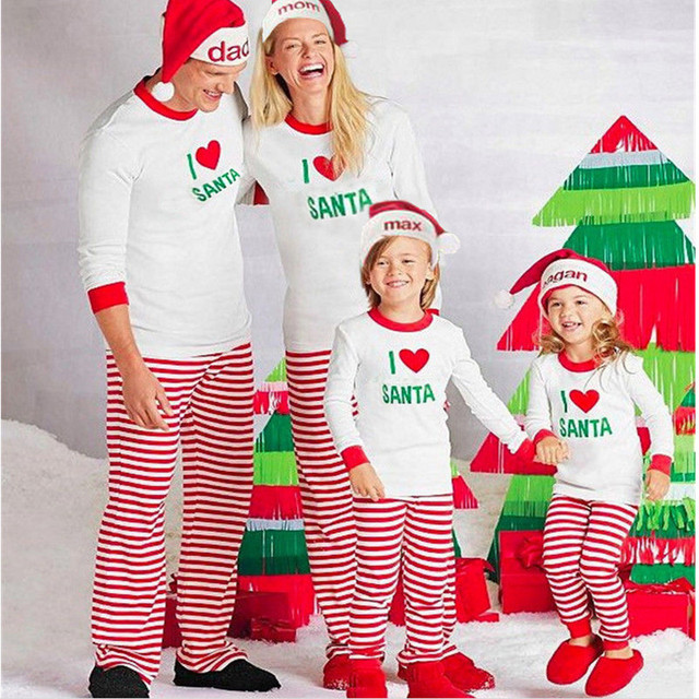 Christmas Outfits.Us 10 0 Xmas Pjs Striped Matching Christmas Outfits I Love Santa Pajamas Sets For Family Pyjamas Holiday New Year Sleepwear Nightwear In Matching