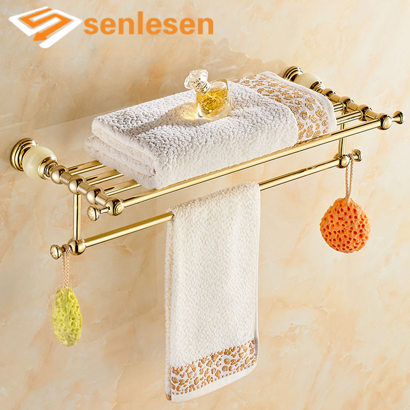 Wholesale And Retail Wall Mounted Gold Finish Solid Brass Bathroom Towel Rack Holder Clothes Shelf W/ Towel Bar Hangers free shipping wholesale and retail brass towel ring wall mounted towel rack rail gold chrome rose gold