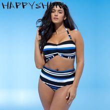 HAPPYSHARK Plus Size Bikinis Colorful Striped Swimsuits 2018 New Sexy 2Pcs Bandeau Big Cup Swimwear High Waisted Biquinis 4XL