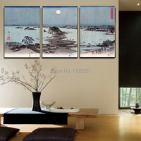 seascape posters landscape canvas painting Japanese traditional art scenery pictures Night View of Eight Excellent Sceneries