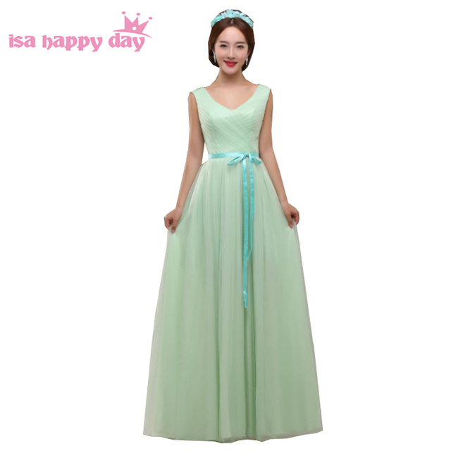 Formal Mint Green Color Bridesmaid Party Occasion Dresses V Neck S Tulle Dress Long With Bow