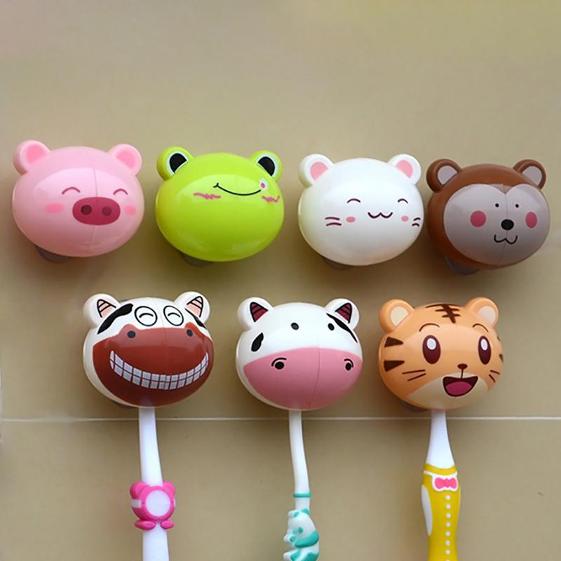 1pc Cartoon Animal Toothbrush Holder Toiletries Toothpaste Plastic Holder Bathroom Sets Suction Hooks Tooth Brush Container image