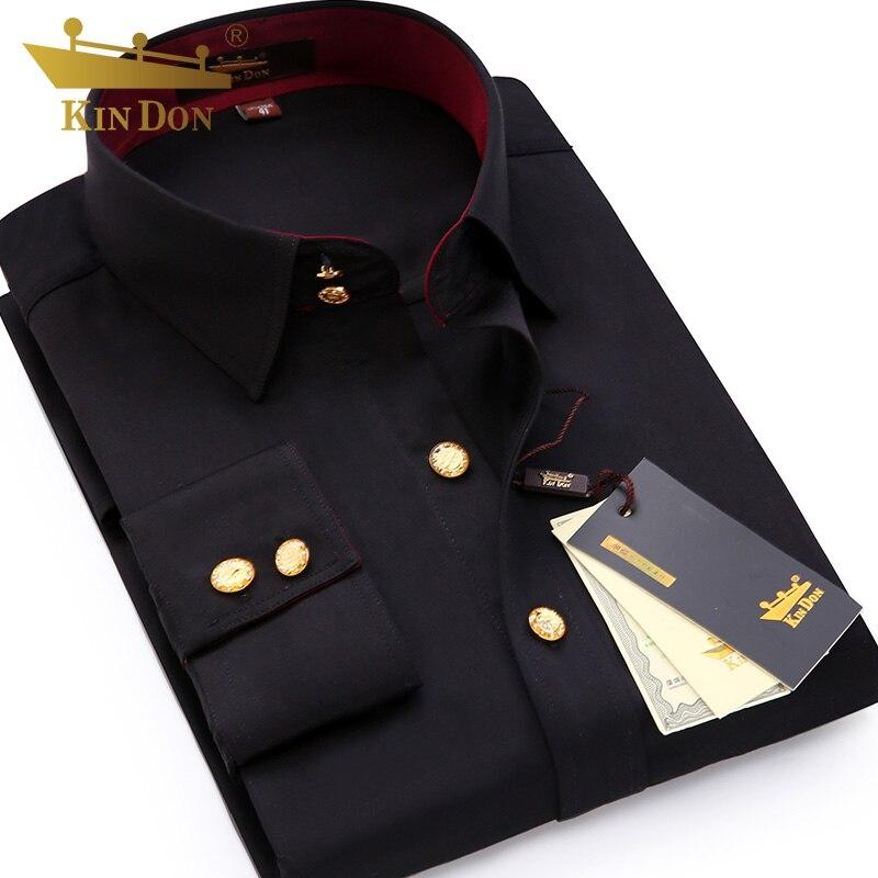 2018 hommes bouton de diamant à manches longues chemise mâle affaires décontracté Slim cuivre bouton robe petit haut de qualité marié chemise de mariage - 4