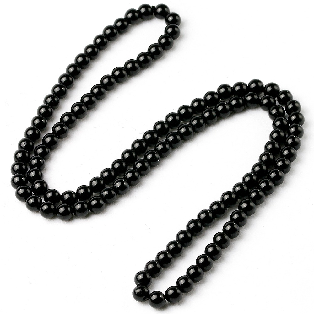 Handmade Bright Black Onyx Natural Energy Stone Beads Knot Long Necklace For Men Women Lucky Unisex Jewelry New Arrivals