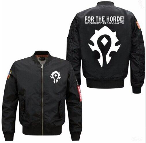 2018 new hot for the horde fashion Spring Men Bomber flight Jacket coat man's lensuire baseball uniform USA size