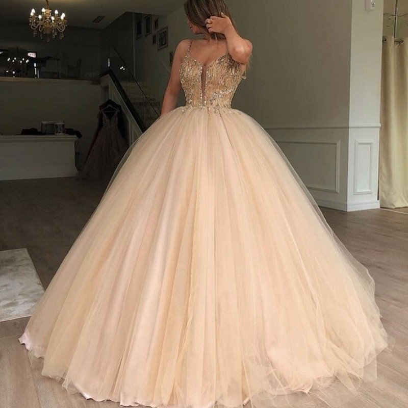 Gorgeous Puffy Crystal Ball Gowns 2018 Vintage Long Tulle Beaded Formal Party Dresses Prom Gowns Vestido De Festa Abendkleider