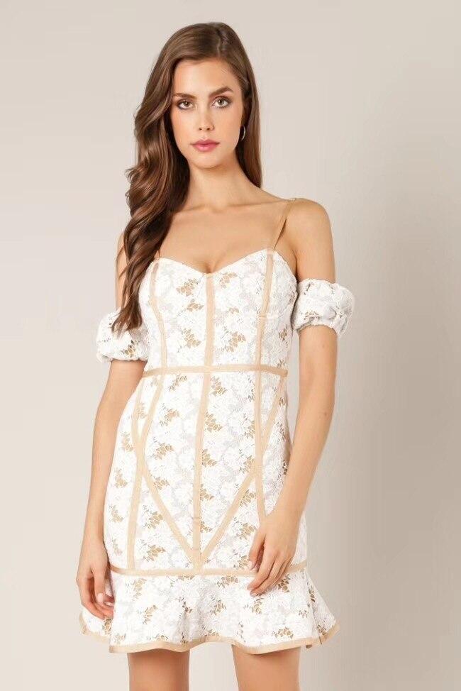Высокое качество бежевое с открытыми плечами с коротким рукавом милое вискозное Бандажное платье вечернее платье