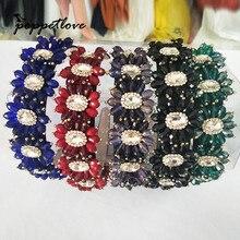 Rhinestone Beads Hair Bands Crystal Wide Headbands Bride Tiaras Baroque Crown Women Party Wedding Hair Jewelry Bride