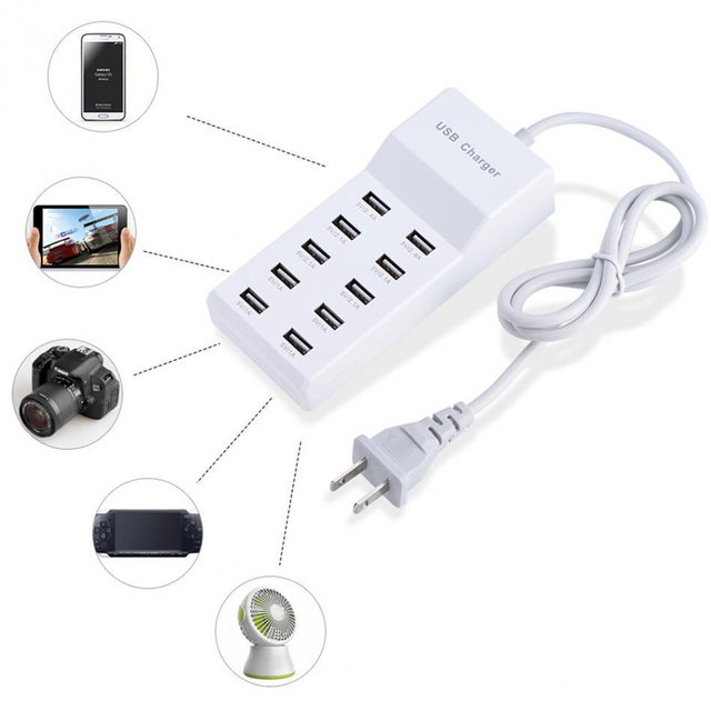 Cell Phone Charger Station, Charge 10 Phones At Once, Universal for iPhone Samsung Mp3 Tablet