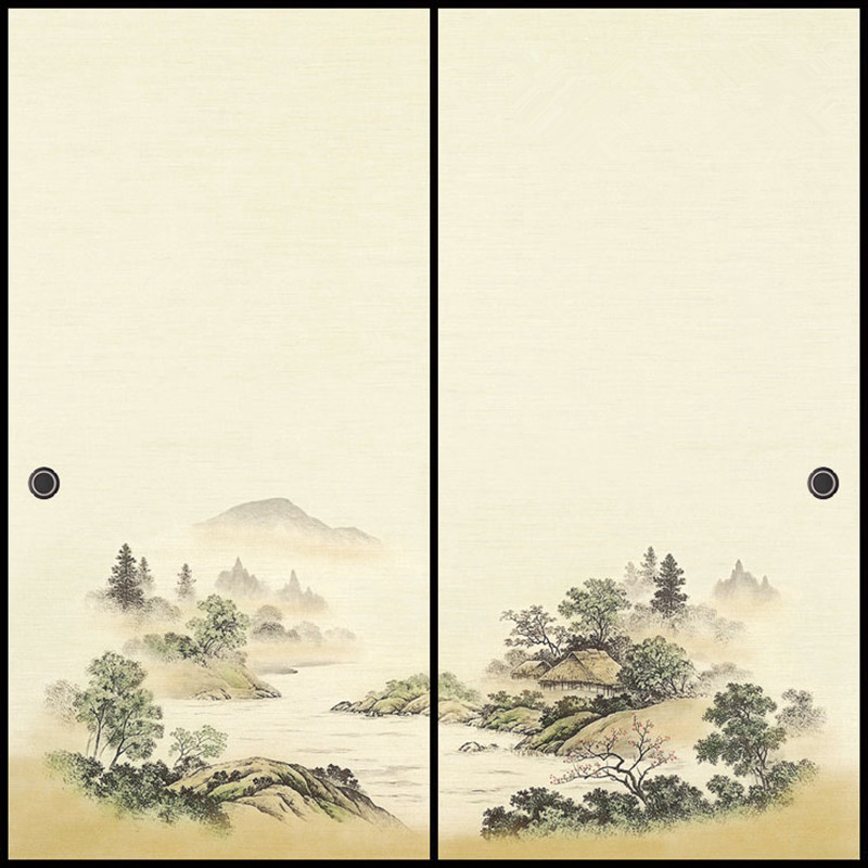 Japanese Fusuma Door Paper 2 Sheets/Pair Washi Woodblock Decor Decorative Wall Paper Soji Sliding Door  Bedroom, Living Room