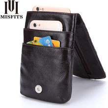 MISFITS New Fashion Genuine Leather Men Waist Packs With High Quality Cowhide Mobile font b Phone