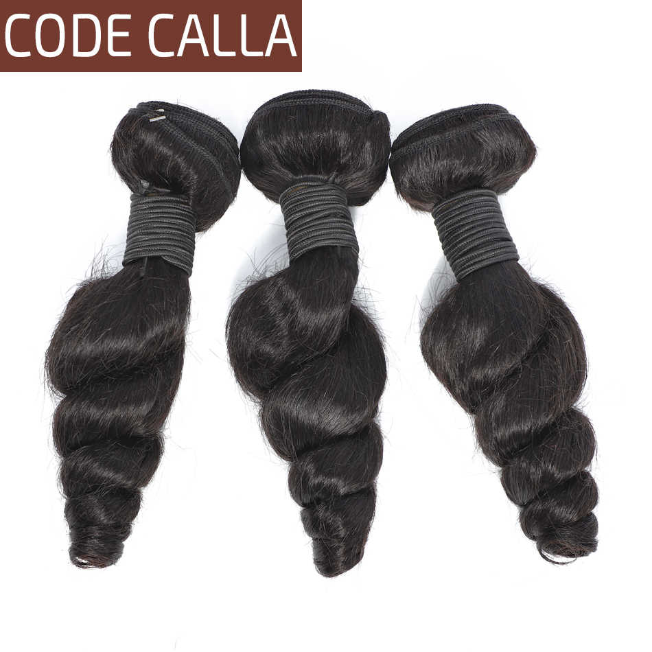 Code Calla Loose Wave Human Hair Weave Bundles 100% Indian Remy Human Hair Bundles Remy Hair Extensions Natural Black For Women