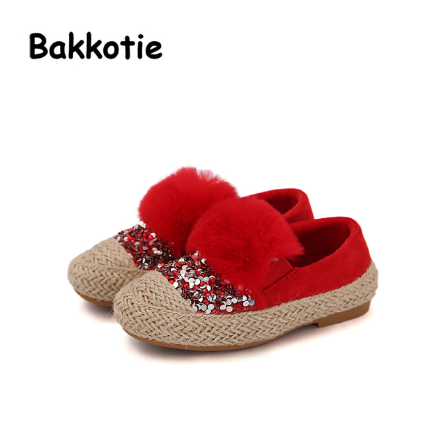 b150bc4e10b46 Bakkotie 2017 Autumn Winter Espadrilles Glitter Baby Girl Fashion Flat Shoe  Black Kid Brand Bling Leisure Shoe Princess Soft