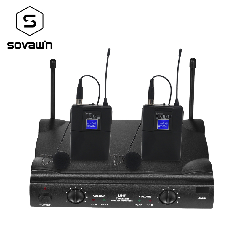 UHF Dual Way Digital UHF Wireless Microphone with 2 Bodypack Transmitter 2 Headset 1 Receiver 120M