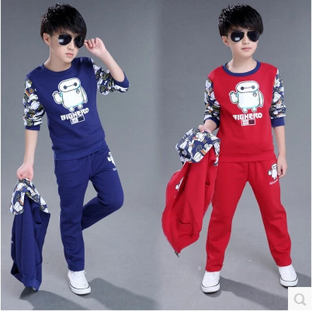 Kids boys 2016 new children boys casual suit Autumn big virgin  three-piece children's clothing Trousers  jacket vest 2-12 years