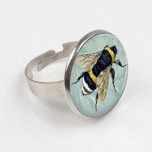 2019 Bumble Bee ring on Light Blue Bee Jewelry Art ring BEE print glass ring бизиборд bee 60x40cm white blue 00002