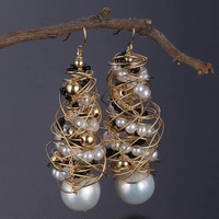 14k Gold Natural Pearl Earrings For Women Hot Sale MEDBOO 14k Gold Wrapping Silver And Brass