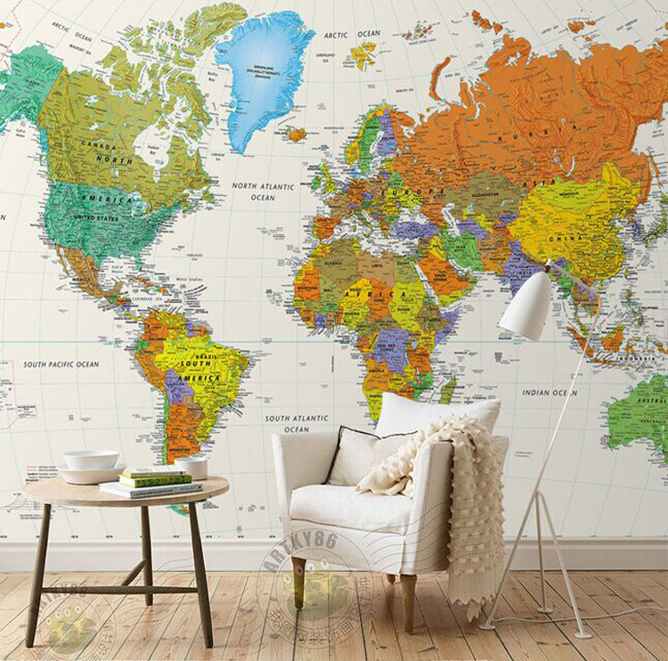 Free Shipping English world map large mural wallpaper office living room TV wall wallpaper retro wallpaper mural