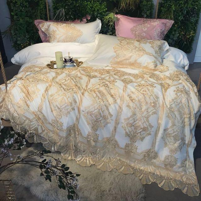 2018 Golden embroidery Queen/King Egyptian cotton 4pcs Bedding Set  Bedding Moroccan Paisley Duvet Cover Bed sheet Pillowcases