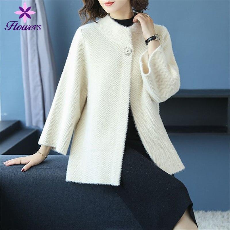 Automne Hiver Vêtements Femmes Pull En Cachemire De Vison Nouvelle-Coréen Plus La Taille Lâche Cardigan Femmes Surdimensionné Chandail Manteau Court LQ464
