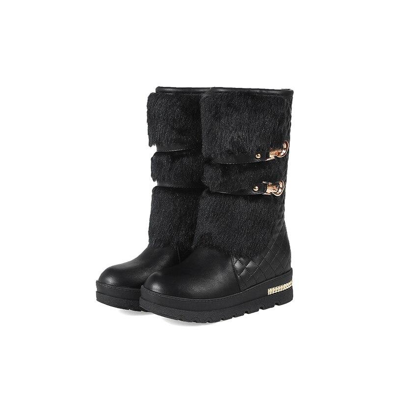 1ebfe2921 Negro Cremallera Botas Impermeable Damas Mujeres Pantorrilla De Media Zapatos  Invierno La blanco Las Nieve Caliente IqFRxO