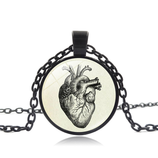 XUSHUI XJ Anatomical Heart Necklace Vintage Jewelry Anatomy Heart ...