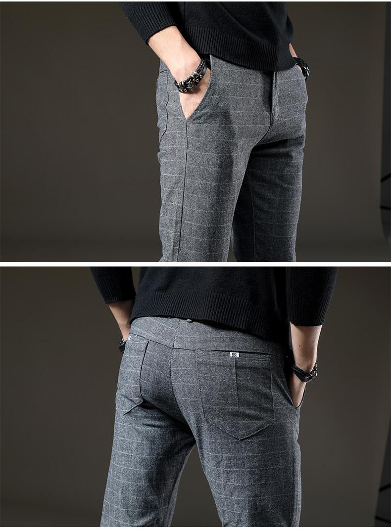 HTB1JYHvc56guuRjy0Fmq6y0DXXaH jantour Brand Pants Men Casual Elastic Long Trousers Male Cotton lattice straight gray Work Pant men's autumn Large size 28-38