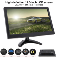 11.6 Inch HD 1920x1080 IPS TFT LCD Color Monitor Mini TV Computer MP5 Player 2 Channel Video Input w/ Speaker AV BNC VGA HDMI