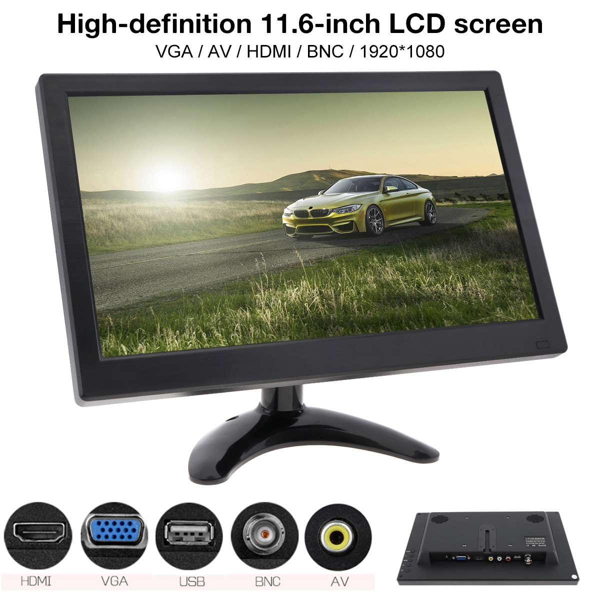 11.6 Inch HD <font><b>1920x1080</b></font> <font><b>IPS</b></font> TFT LCD Color Monitor Mini TV Computer MP5 Player 2 Channel Video Input w/ Speaker AV BNC VGA <font><b>HDMI</b></font> image