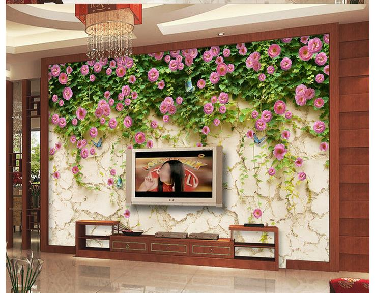 3d Wallpaper For Room Pink Rose Flower Stone Wall