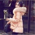 Mulheres Parka 2015 de Pato Branco Para Baixo de Inverno Quente de manga Longa Mulheres jaqueta Parka Casaco de Inverno casaco Mulheres Casaco manteau femme L218