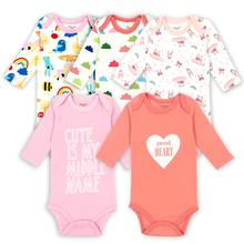 d590f92a6 5 pçs lote Bodysuits Macacões Infantis Originais Outono Macacão Macacão de  Algodão Do Bebê Das