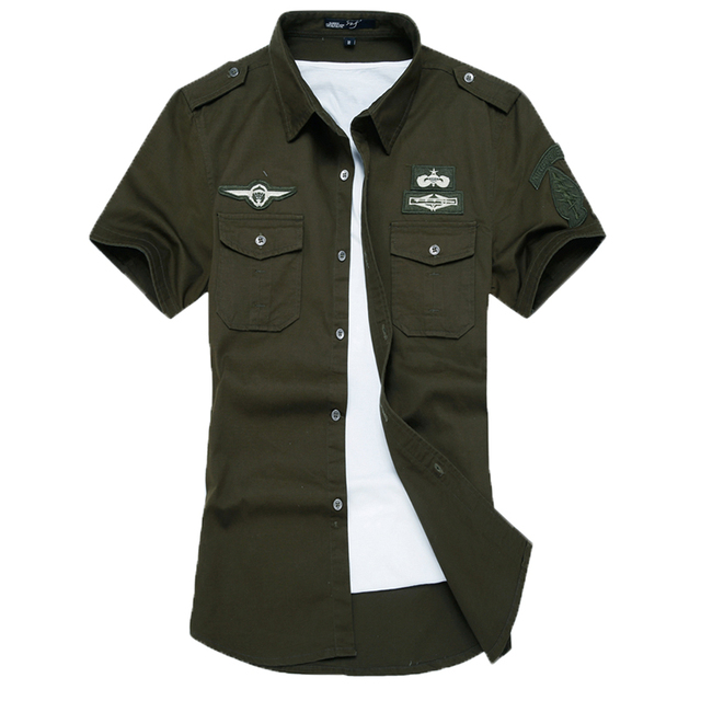 New fashion men short sleeve shirt slim fit high quality cotton dress shirts 3 colors M-6XL AYG57 5